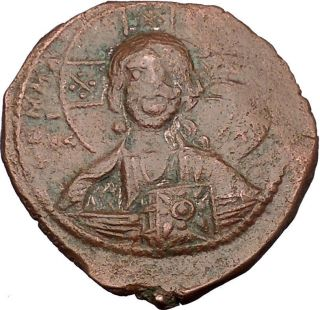 Jesus Christ Class A2 Anonymous Ancient 1028ad Byzantine Follis Coin I44006 photo