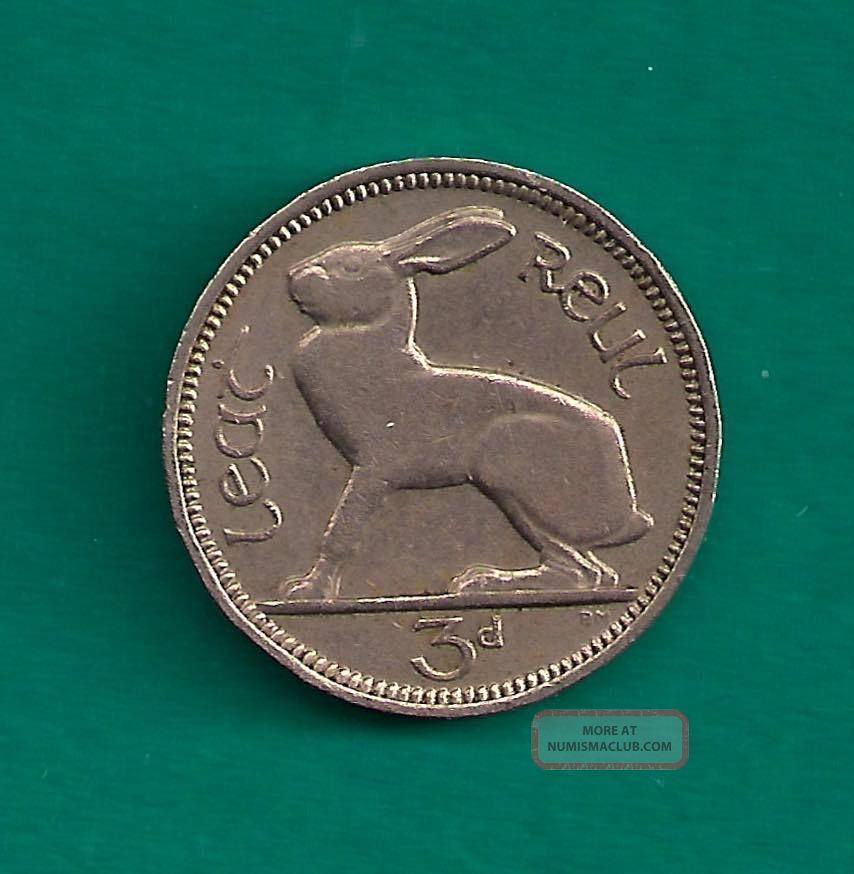 Ireland Republic 3 Pence 1964 Hare Rabbit Reverse 18mm Irish Coin