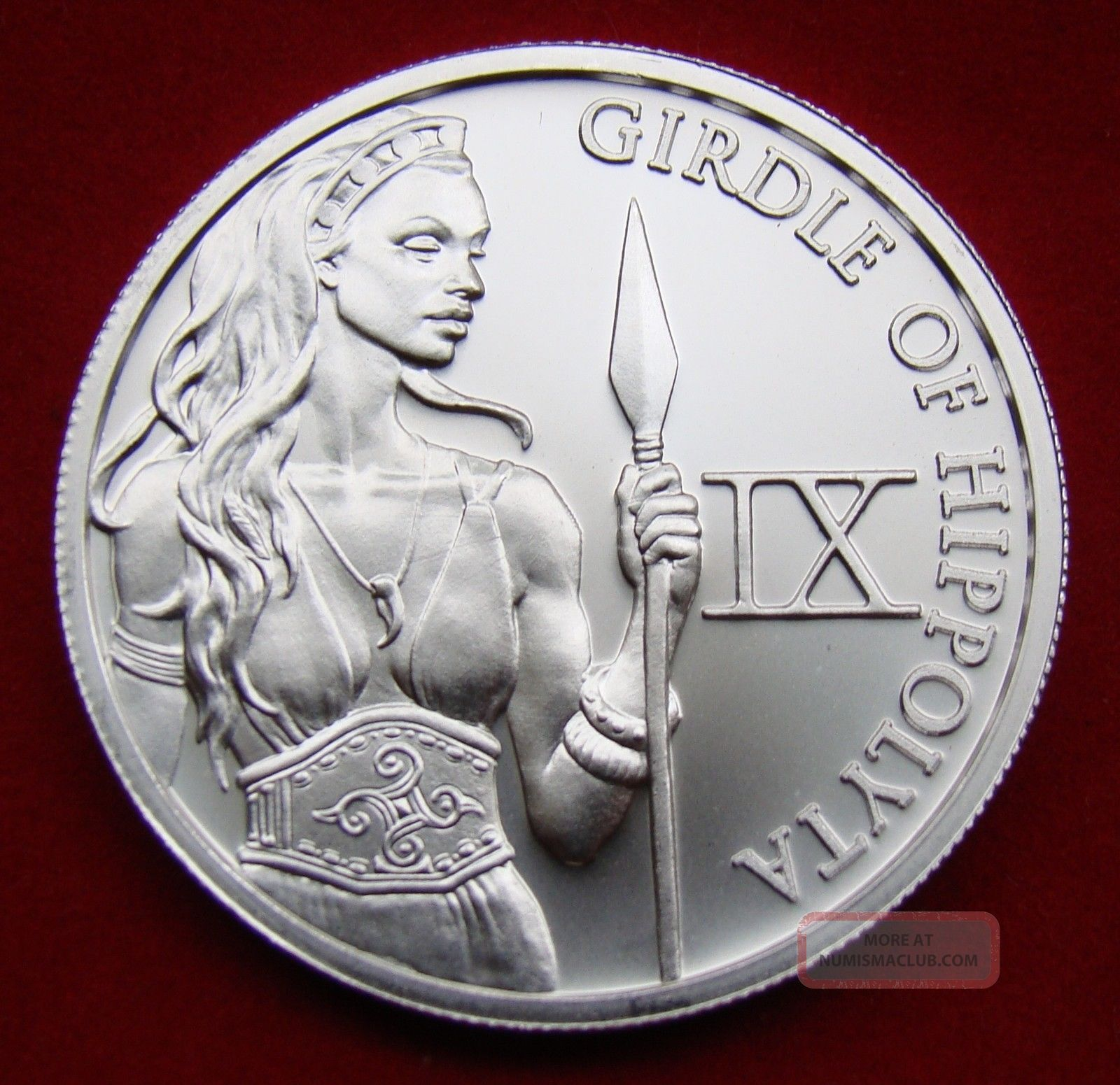 Solid Silver Round 1 Troy Oz Golden Girdle Of Hippolyta 12