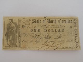 North Carolina County Bill Civil War Obsolete Paper Money Circulated One Dollar photo