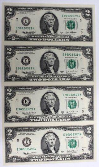 Uncut Sheet Of $2 Two Dollar Bills Us X4 Bills Fr.  1938 - F 2003a Great Gift photo