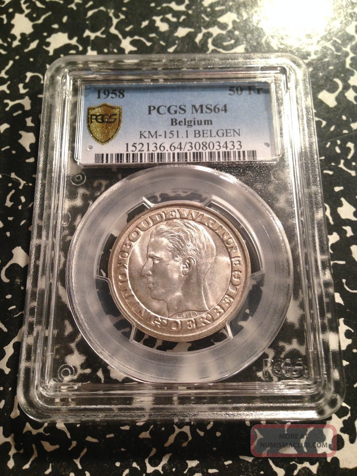 1958 Belgium 50 Francs Pcgs Ms64 G573 Silver World ' S Fair Europe photo