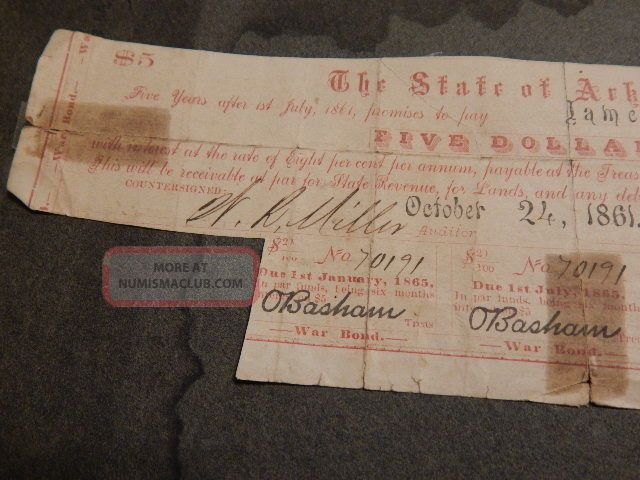 Old 1861 Arkansas Confederate $5.  00 War Bond - Issued To James S.  Smith Stocks & Bonds, Scripophily photo