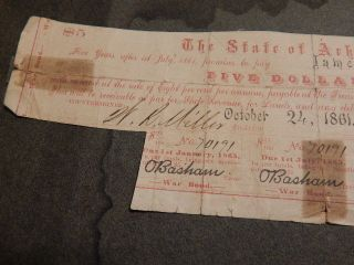 Old 1861 Arkansas Confederate $5.  00 War Bond - Issued To James S.  Smith photo