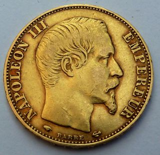 France 20 Gold Francs 1858 A 6.  45 Gr.  0.  1867 Oz.  0.  900 Gold photo