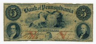 1856 $5 The Bank Of Pennsylvania Note photo