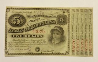 1886 5 Dollar State Of Louisiana Bond Note Certificate photo