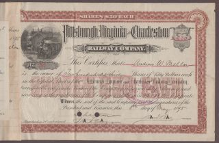 Andrew Mellon Signed 1891 Pittsburgh Virginia & Charleston Rwy Stock Certificate photo