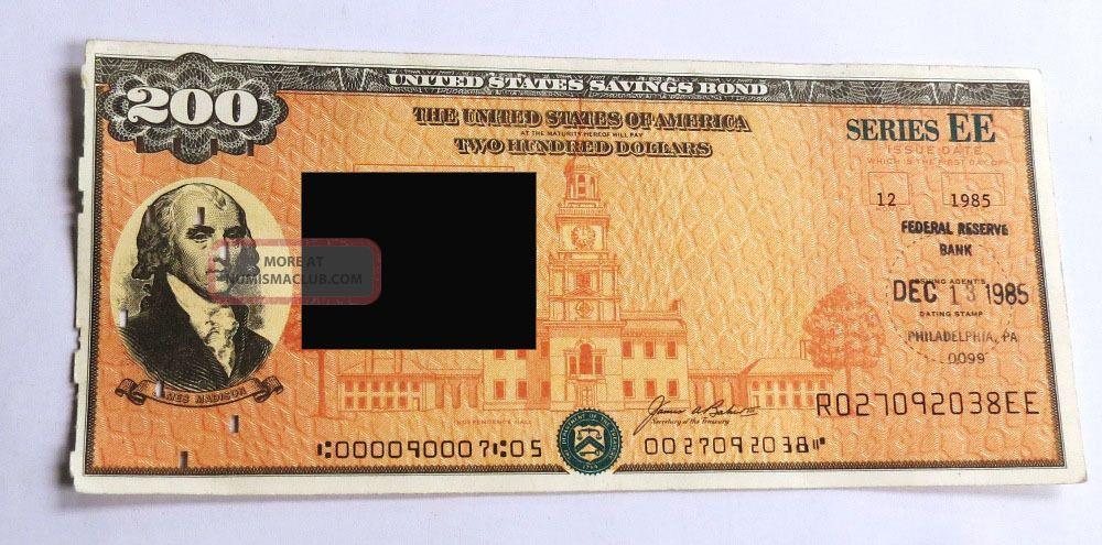 Us Savings Bond Ee Presidential $200 Dec 1985 Stocks & Bonds, Scripophily photo