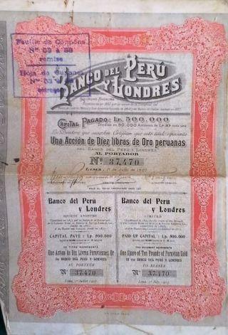 Peru 1907 Bank Banco Londres London 10 Libras Gold Oro Coupons Pound Bond photo