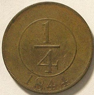 Dominican Republic 1844 1/4 Real Star Close Variety First Coin Of The Republic photo