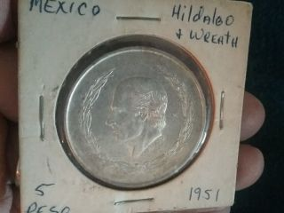 1951 Mexican Silver 5 Pesos Hidalgo With Wreath photo