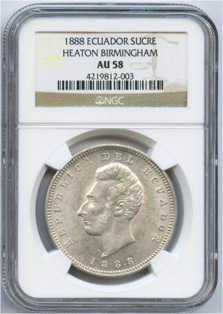 1888 Silver Ecuador Sucre Heaton Birmingham Ngc Au 58 Luster photo