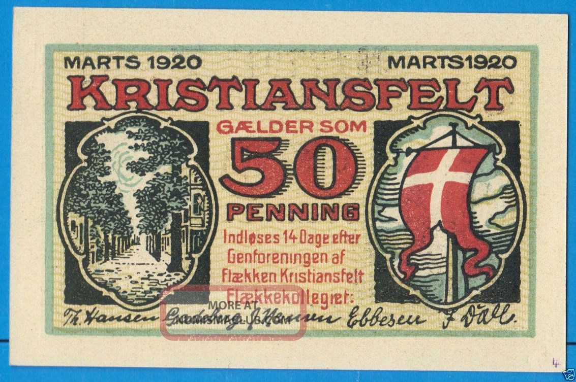 Denmark Christiansfeld Kristiansfelt 50 Pfennig 1920 Galder Som Notgeld Banknote Europe photo