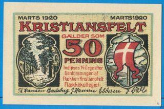 Denmark Christiansfeld Kristiansfelt 50 Pfennig 1920 Galder Som Notgeld Banknote photo
