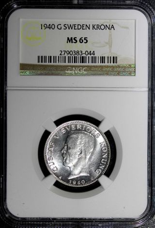 Sweden Silver Gustaf V 1940 G Krona Ngc Ms65 Km 786.  2 Top Graded Coin photo