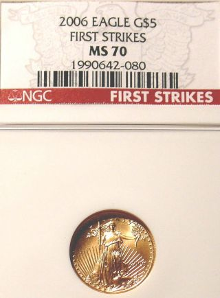Rare Us Ngc Ms70 Gold Coin First Strikes 2006 $5 American Beauty Red Label photo