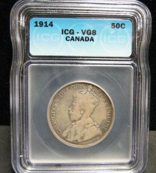 1914 Canada 50c Icg Vg8 - 3801 photo