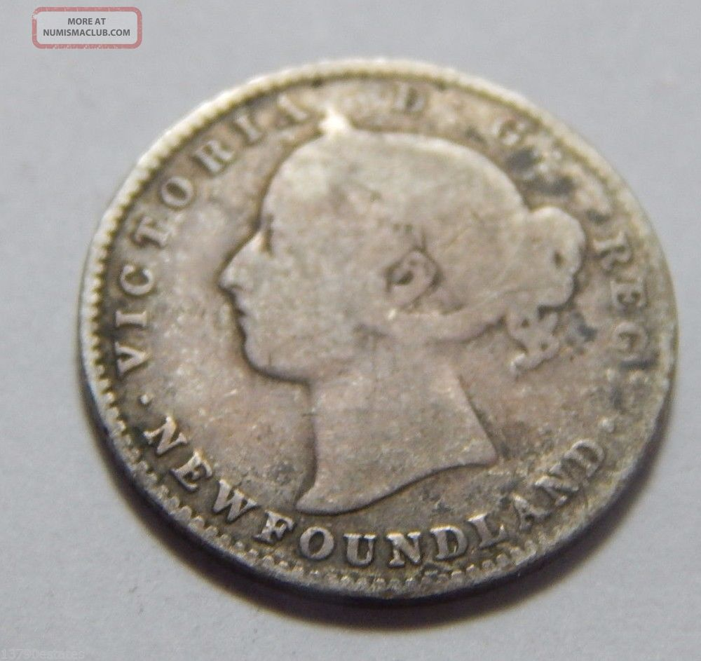 1896 Newfoundland Canada Sterling Silver 10 Cent Coin