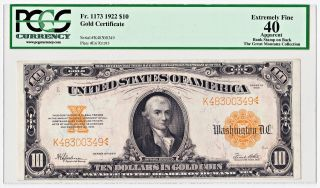 Fr.  1173 1922 $10 Gold Certificate - Extremely Fine 40 By Pcgs Currency photo