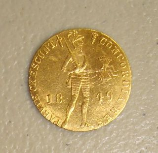 1849 Russia St.  Petersburg Sword Privy Mark Gold Ducat Uncirculated photo