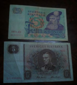 Sweden 1955 5 Kronor Banknote & 1973 5 Kronor Banknote Good Shape photo
