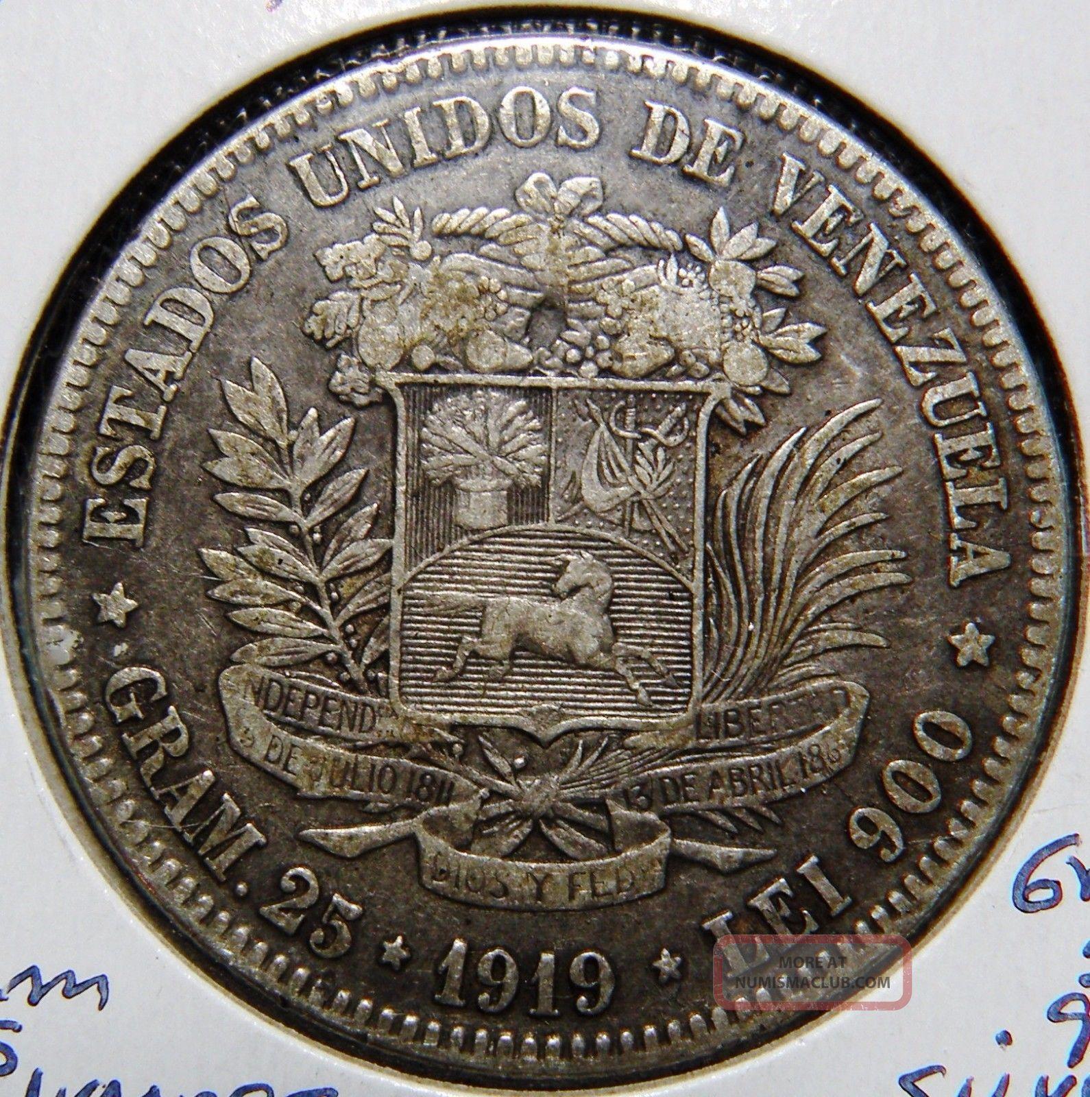 Venezuela Silver Coin Gram 25 5 Bolivares 1919 Scarse