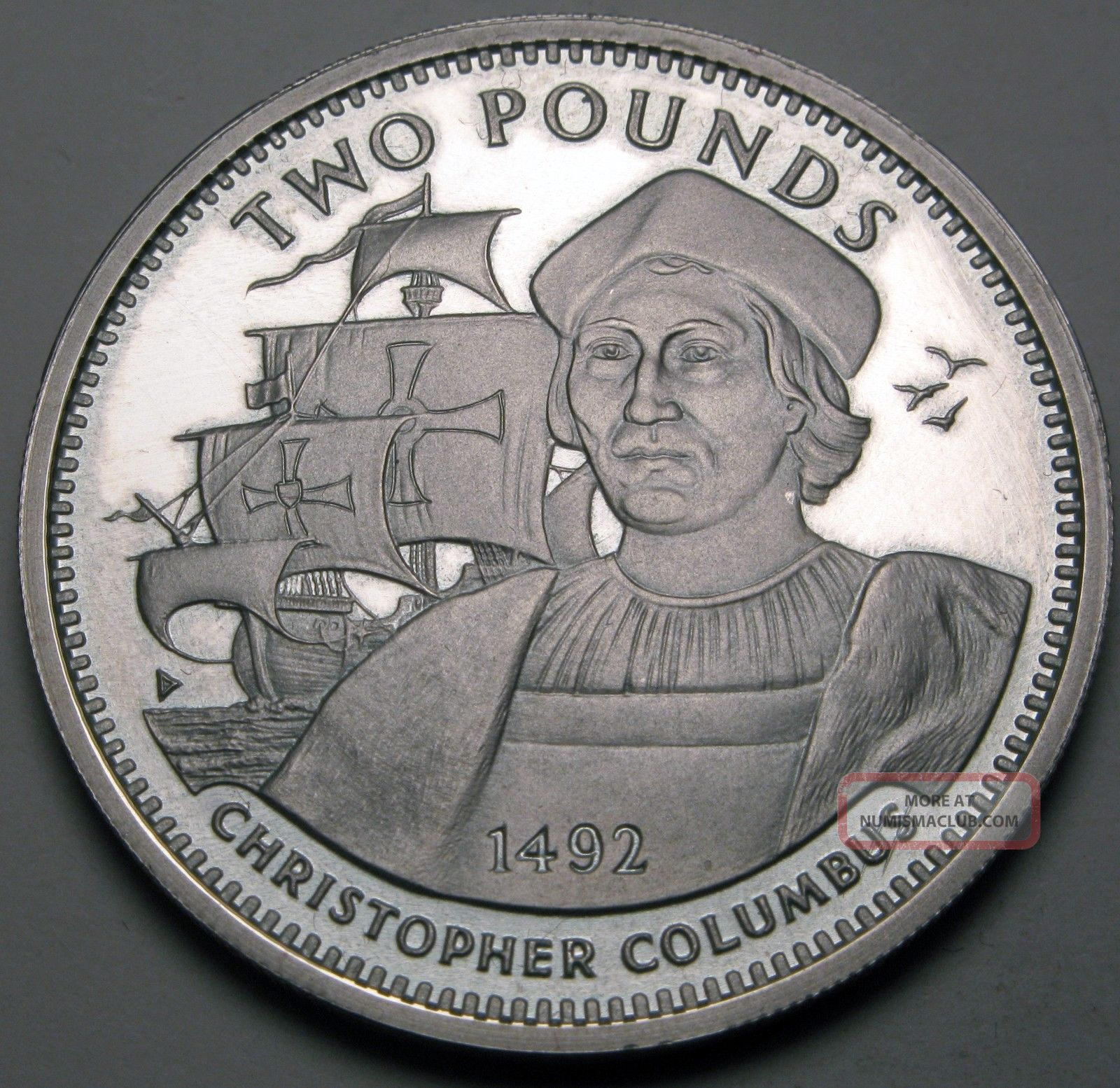 Gibraltar 2 Pounds 1992 Proof - Silver - Columbus - Elizabeth Ii.  - 120 Europe photo