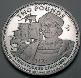 Gibraltar 2 Pounds 1992 Proof - Silver - Columbus - Elizabeth Ii.  - 120 photo