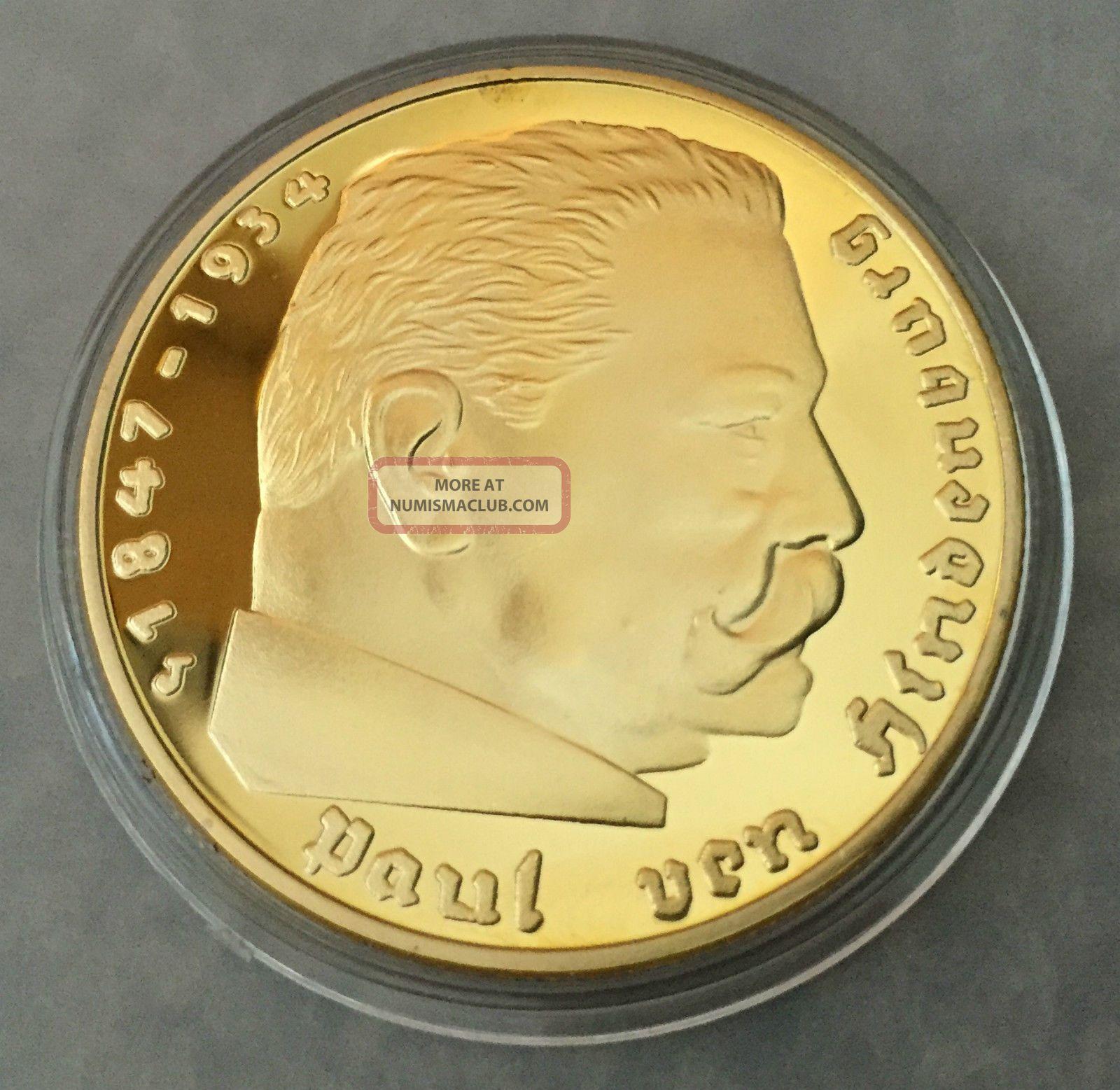 1 Oz 1938 German Paul Von 5 Reich Finished In 24k Gold