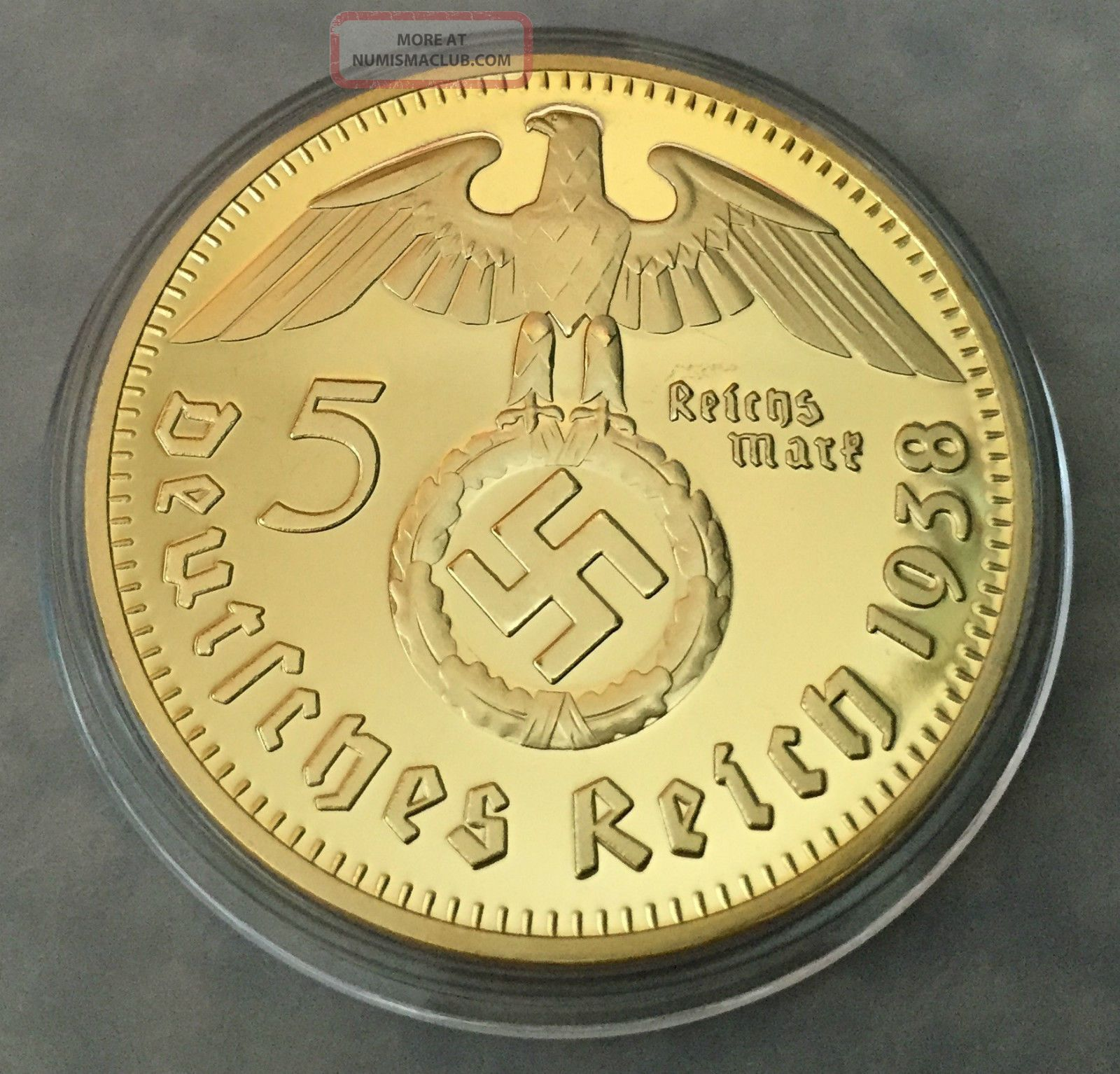 1 Oz 1938 German Paul Von 5 Reich Finished In 24k Gold