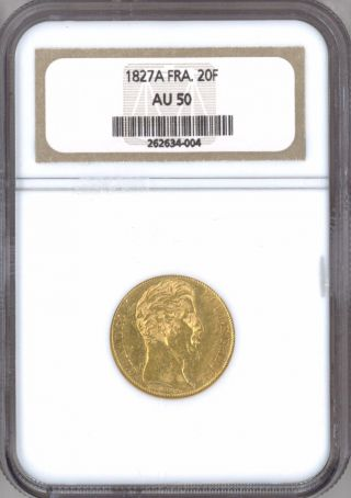 France 1827 - A 20 Francs Gold.  1867 Oz.  Agw Ngc Au - 50 Charles X photo
