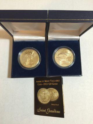$20 1933 Saint Gaudens 24k Gold Coin Clad Tribute Proof W/ & Box photo