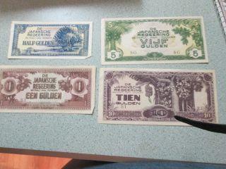 Foreign Currency Netherlands 4 Bills 1/2,  Vijf,  Een,  Tien Gulden Wwii Era photo