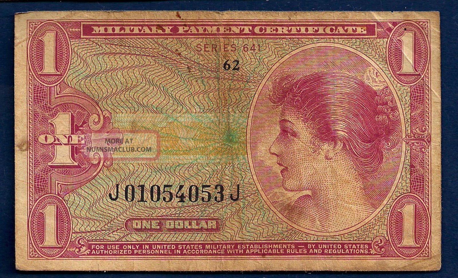 Us Military Payment $1 Dollar Nd - 1965 M61 Series 641 Vietnam War Era Certificate Paper Money: US photo