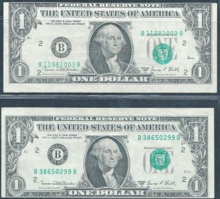 1969d $1 Federal Reserve Note Pair 2nd Print Shifted Up And Down photo