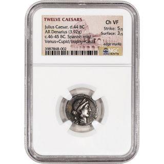 D.  44 Bc Roman Empire Julius Caesar Ar Denarius Ancient Silver Coin - Ngc Ch Vf photo