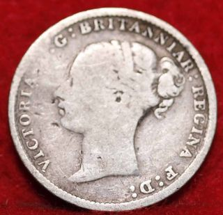 1883 Great Britain 3 Pence Silver Foreign Coin S/h photo