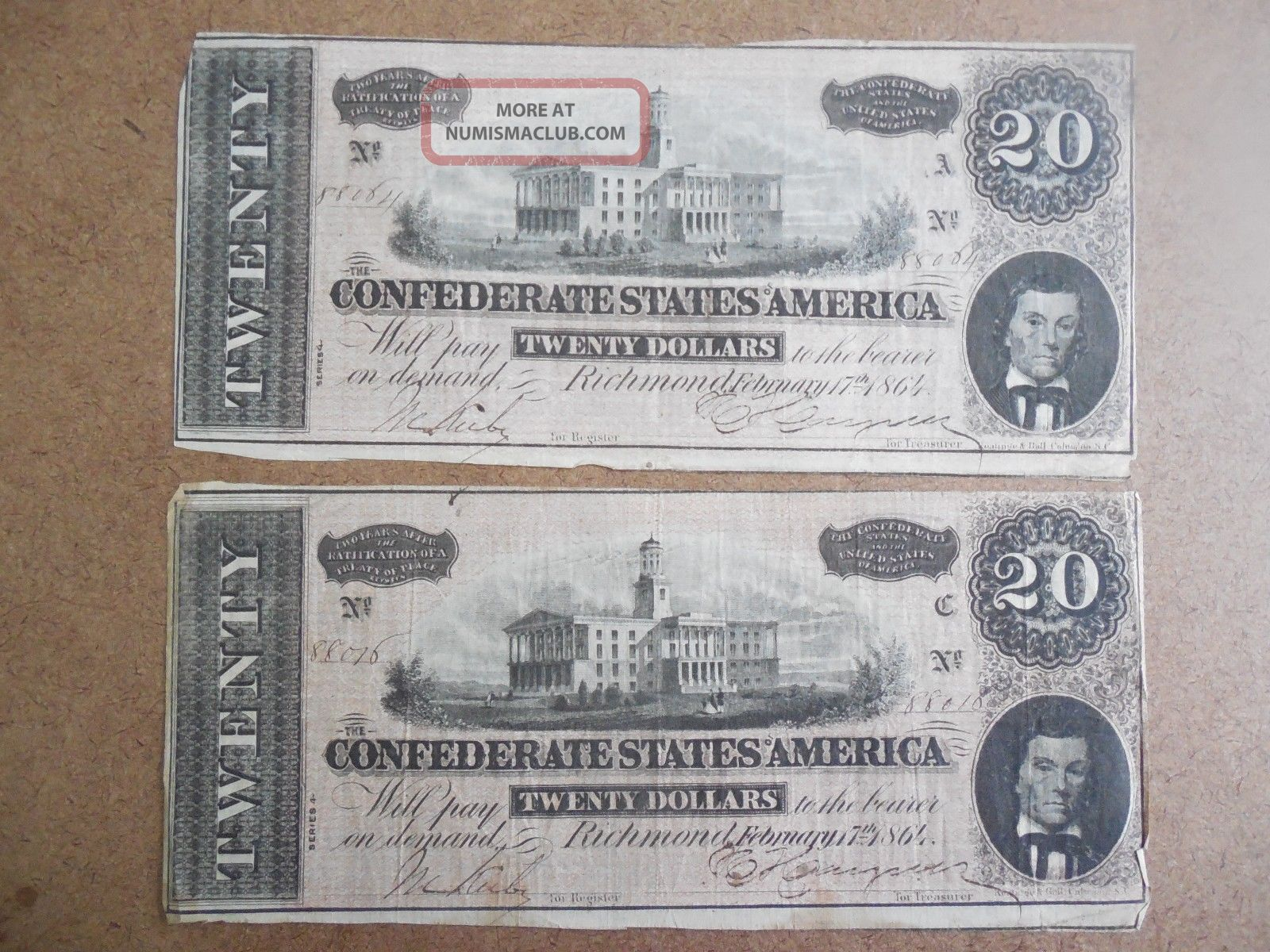 2 - 1864 Confederate States America $20 Twenty Dollar Bill Civil War Currency Paper Money: US photo