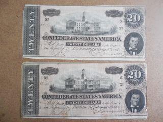 2 - 1864 Confederate States America $20 Twenty Dollar Bill Civil War Currency photo