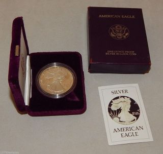 1986 - S Proof American Silver Eagle Dollar Coin - Case Box photo