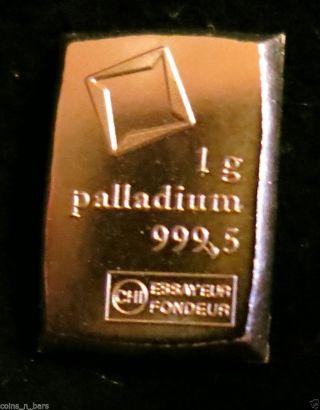 One Gram Palladium Pd Bar Valcambi S.  Suisse 999.  5 Pure Solid Palladium Bar Look photo