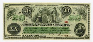 1873 $20 The State Of South Carolina Note Au/unc photo