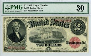 1917 Fr.  57 $2 United States Legal Tender Note - Pmg Very Fine 30 photo