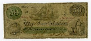 1862 50c The City Of Orleans,  Louisiana Note - Civil War Era W/ Ship photo