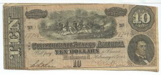 Csa 1864 Confederate Currency T68 $10 Note Horses Pull Cannon Caisson 17764 photo