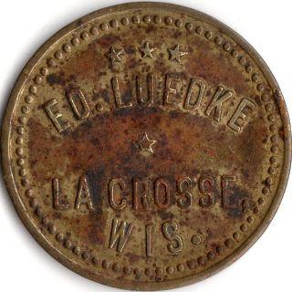 La Crosse Wisconsin Eo.  Luedke Merchant Good For Trade Token photo
