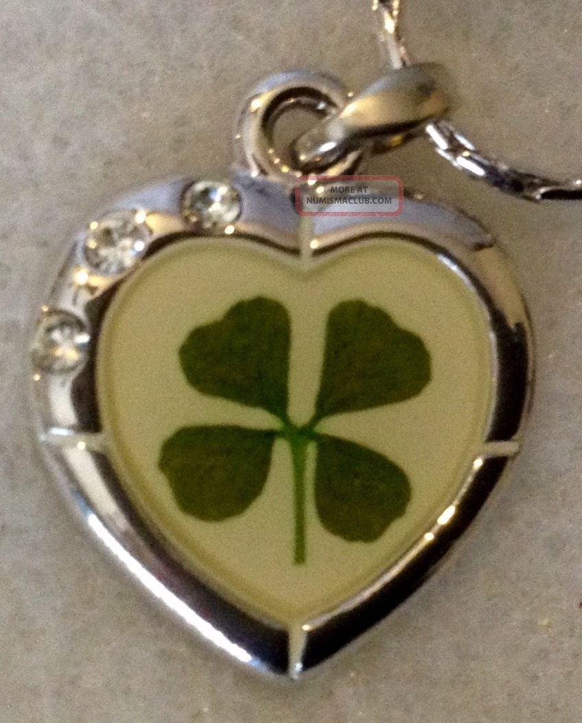 Four Leaf Clover Heart Necklace Four Leaf Clover Pendant Good Luck Charm Exonumia photo