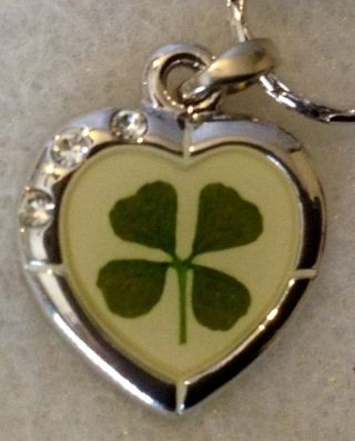 Four Leaf Clover Heart Necklace Four Leaf Clover Pendant Good Luck Charm photo