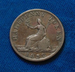 1832 King William Iv Canadian Canada 1/2 One Half Penny Copper Token Vf photo